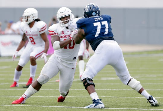Houston defensive tackle Ed Oliver (10) is a possible first-round option for the Lions.