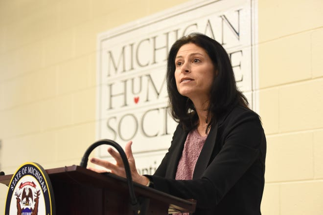 Michigan Attorney General Dana Nessel holds a press conference in April 2019.