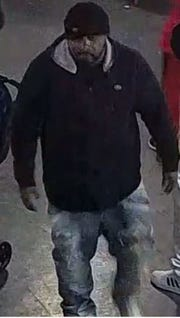 The man police seek was last seen wearing a black pullover sweatshirt with white lining.