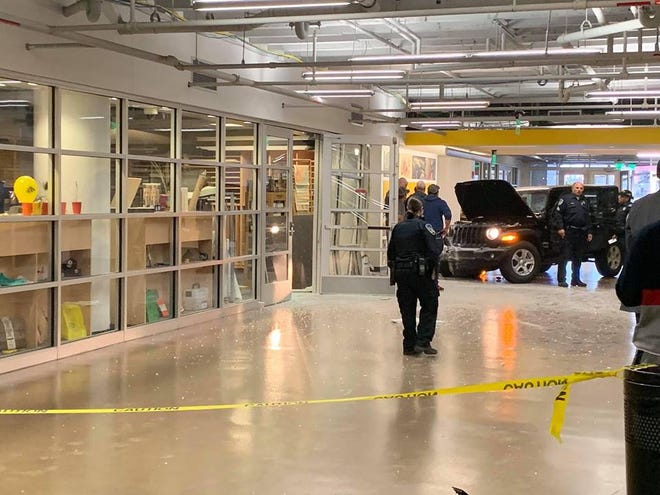 At 7:37 a.m. Thursday, a Jeep crashed into the lobby of a CCS building.