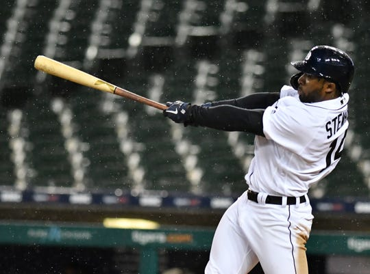 Tigers outfielder Christin Stewart flies out in the eighth inning Wednesday.