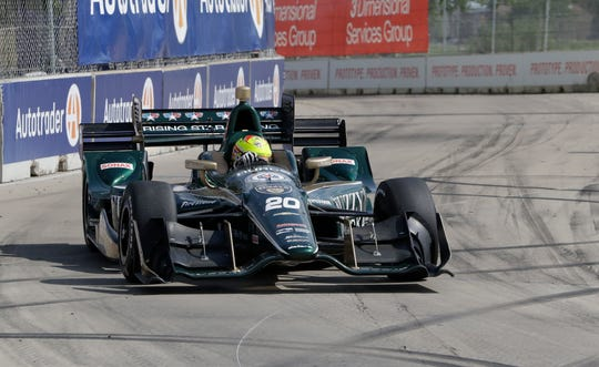 Spencer Pigot has two top-10 finishes at the IndyCar Detroit Grand Prix.