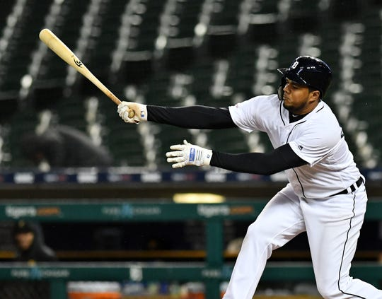 Detroit Tigers third baseman Jeimer Candelario strikes out swinging in the ninth inning.