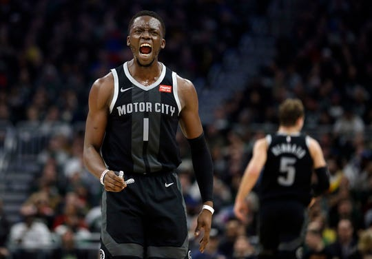 Detroit Pistons' Reggie Jackson yells at an official during the first half of Game 2.