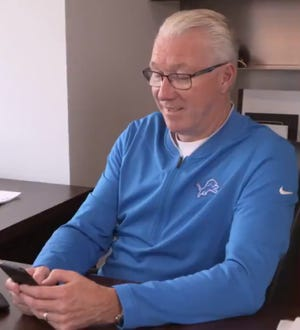 Lions president Rod Wood takes part in the team's social-media unveiling of the 2019 schedule.