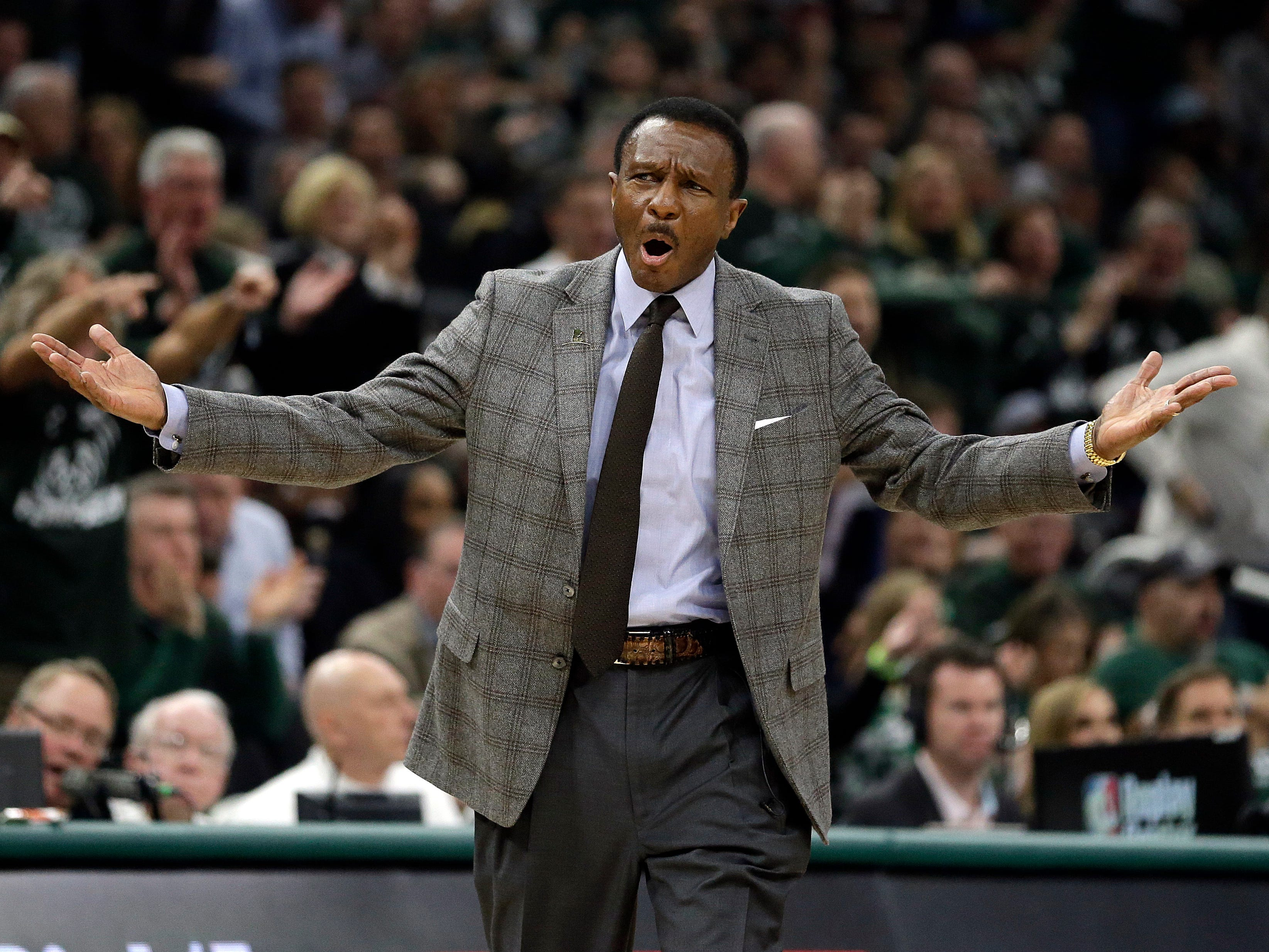 Detroit Pistons coach Dwane Casey yells to an official during the first half of Game 2 against the Milwaukee Bucks.