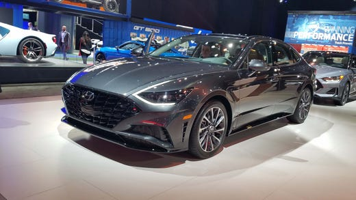 Hyundai Sonata, on display at the 2019 New York Auto Show.