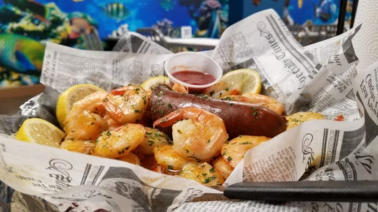 Shrimp boil with sausage at Catfish Willy's.