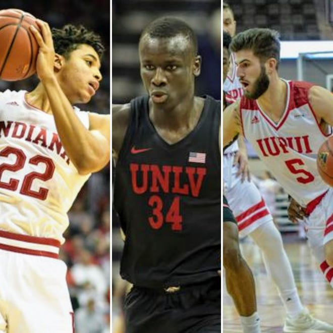 From left to right: Clifton Moore (Indiana), Cheikh Mbacke Diong (UNLV) and Camron Justice (IUPUI).