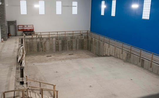 Construction continues on the pool for the new YMCA in Downtown Evansville, Ind. Thursday, April 18, 2019.