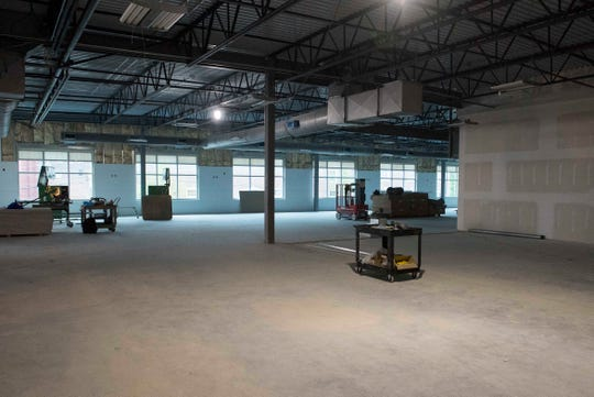 The second floor open area wellness center beings to take shape as construction continues on the new YMCA in Downtown Evansville, Ind. Thursday, April 18, 2019.