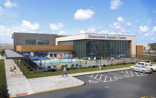 Exterior rendering of Deaconess Aquatic Center.