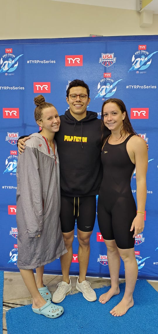 Fort Myers' Olivia McMurray (left) qualified for the 2020 Olympic trials in five events last week in Richmond, Virginia. Former Bishop Verot standout Santiago Corredor (center) and St. John Neumann's Maddy Burt also  participated in the TYR Pro Series meet.