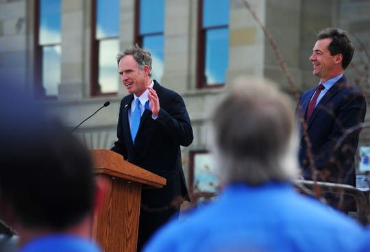 Sen. Nate McConnell, D-Missoula, address attendees to the bill signing of Senate Bill 160, the Firefighter Protection Act on Thursday in Helena.