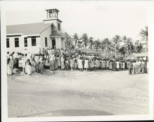 The Barrigada Catholic Church is shown in this post-war 1947 photo