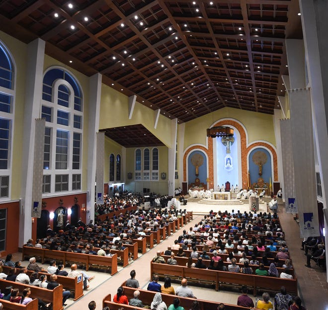 Hundreds of parishioners attend the annual Chrism Mass at the Dulce Nombre de Maria Cathedral-Basilica in Hagåtña, April 18, 2019.