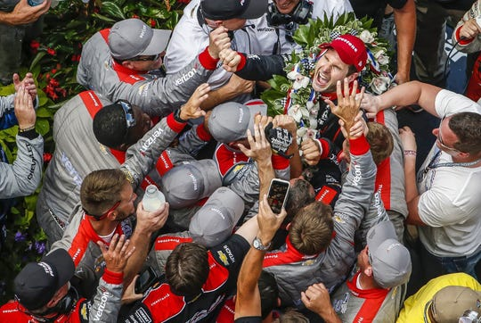 Will Power and his crew celebrate his 2018 Indy 500 victory in Victory Lane.