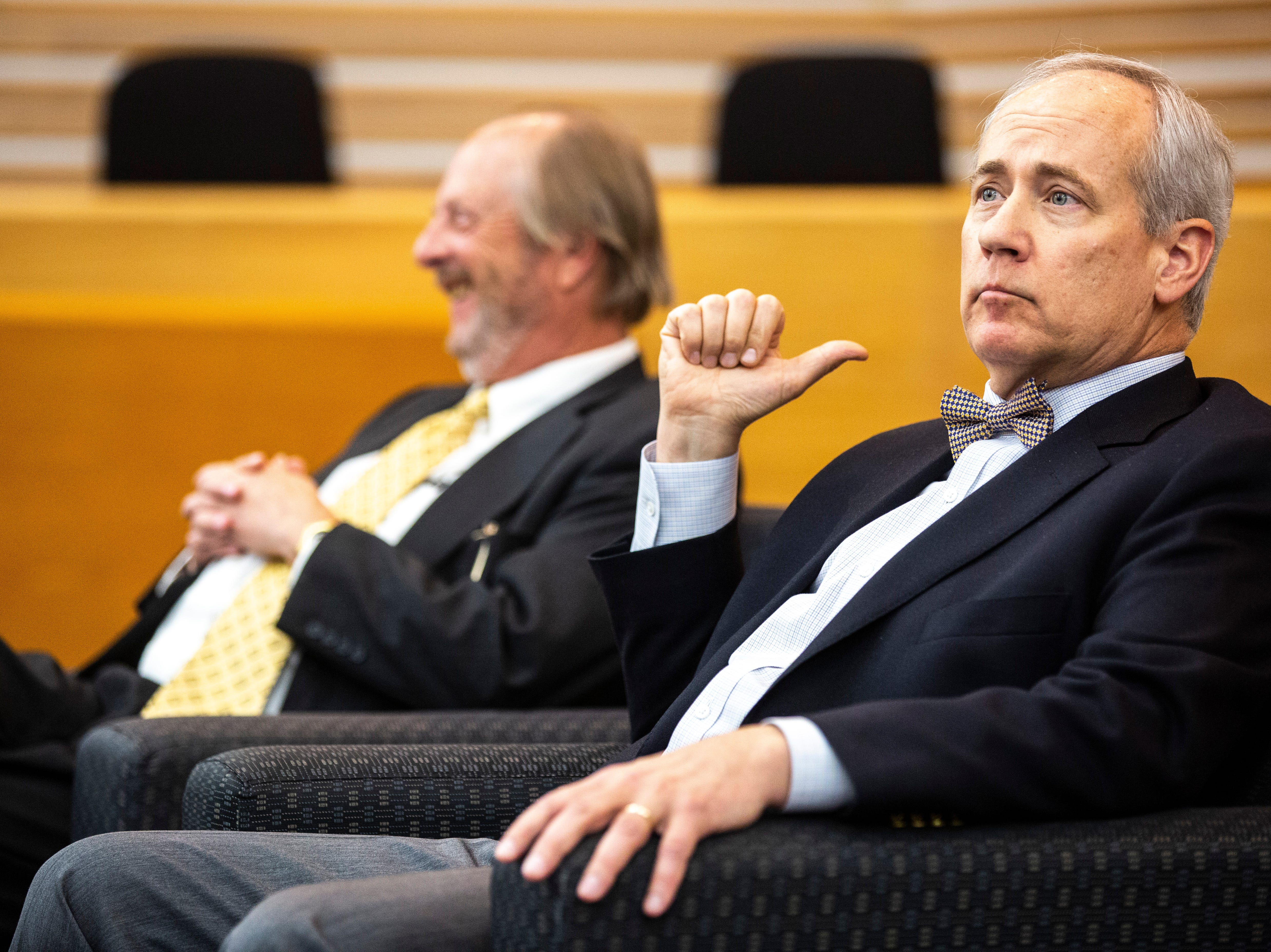 District 5 Judge Robert B. Hanson, right, listens during a panel with former Iowa Supreme Court Justice David L. Baker regarding the Varnum v. Brien Iowa Supreme Court decision, Thursday, April 18, 2019, in the Boyd Law Building on the University of Iowa campus in Iowa City, Iowa.