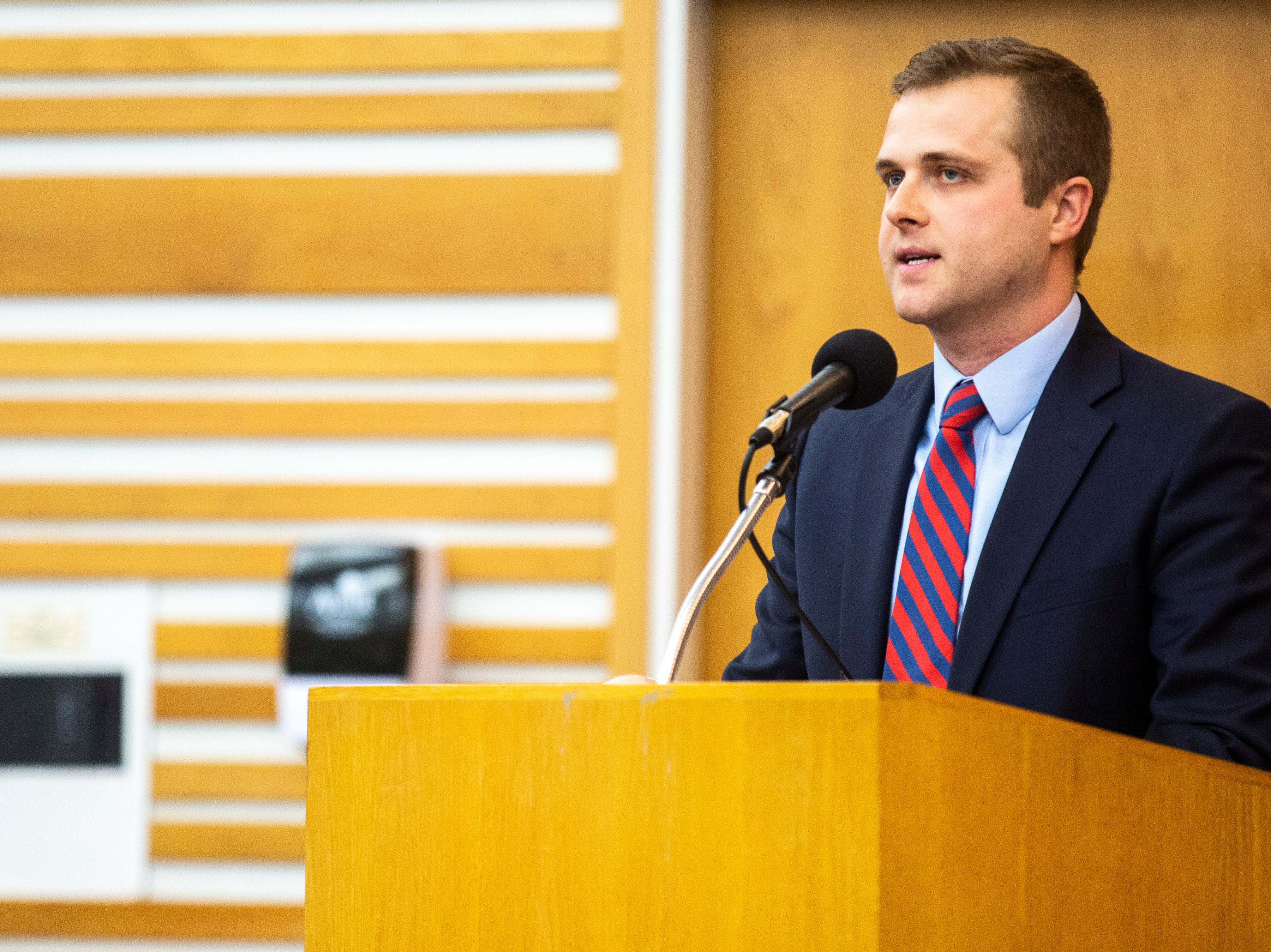 University of Iowa law student Drew Lakin speaks during a panel regarding the Varnum v. Brien Iowa Supreme Court decision, Thursday, April 18, 2019, in the Boyd Law Building on the University of Iowa campus in Iowa City, Iowa.