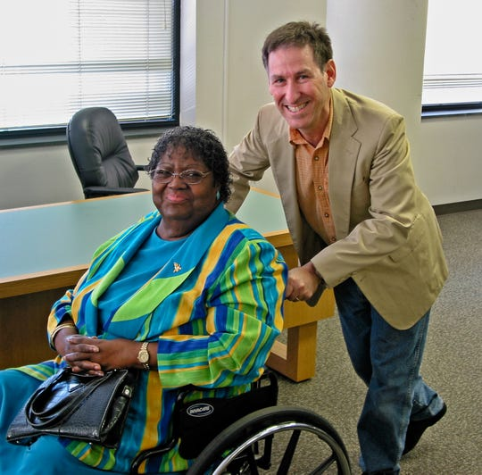 Author Osha Gray Davidson attends an event with civil rights activist Ann Atwater in 2007.