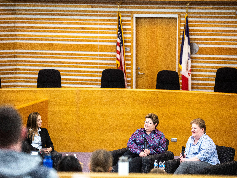 University of Iowa law student Alex Pecora, left, asks Trish and Kate Varnum a question during a panel regarding the Varnum v. Brien Iowa Supreme Court decision, Thursday, April 18, 2019, in the Boyd Law Building on the University of Iowa campus in Iowa City, Iowa.
