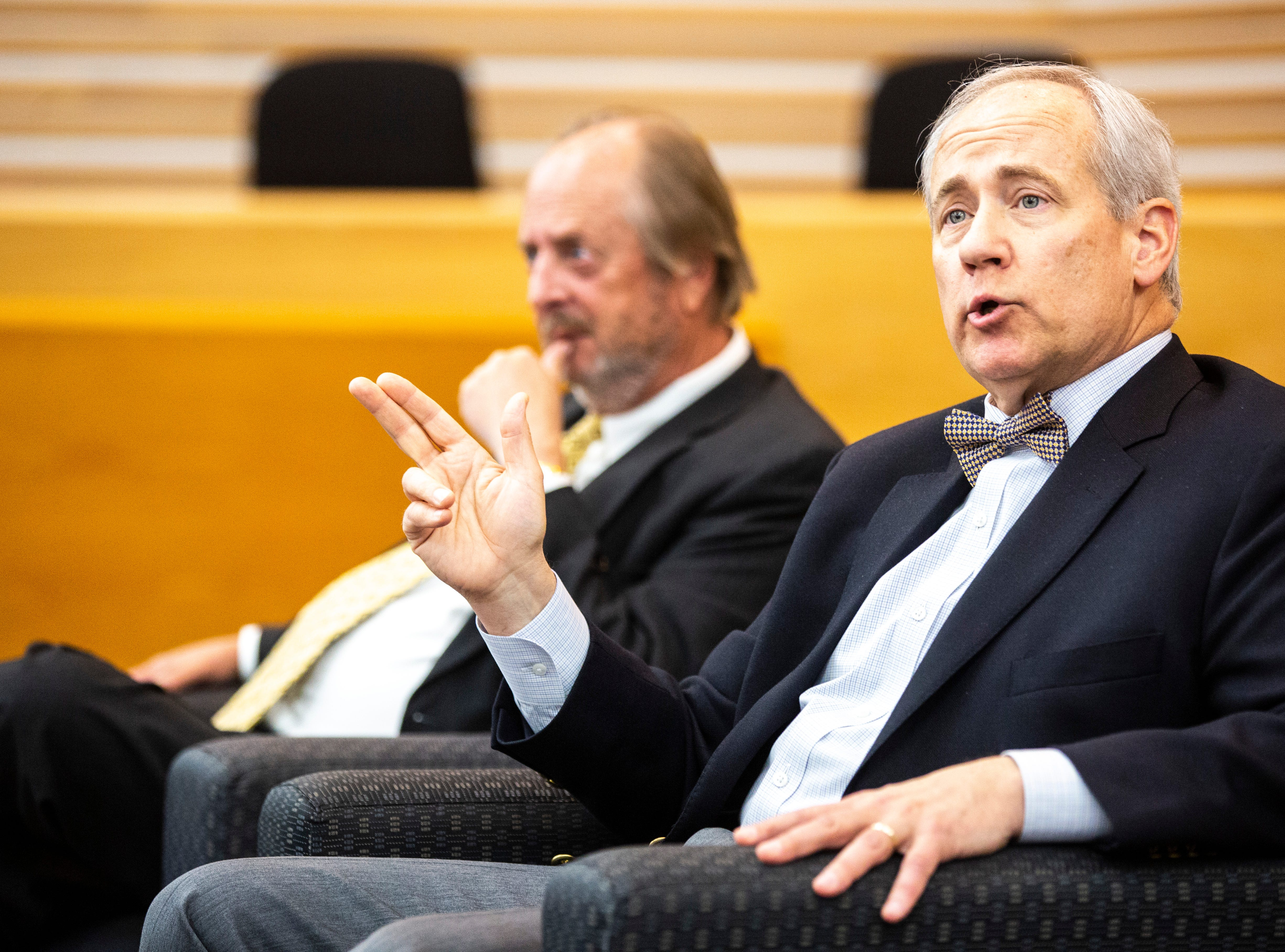 District 5 Judge Robert B. Hanson, right, speaks during a panel with former Iowa Supreme Court Justice David L. Baker regarding the Varnum v. Brien Iowa Supreme Court decision, Thursday, April 18, 2019, in the Boyd Law Building on the University of Iowa campus in Iowa City, Iowa.