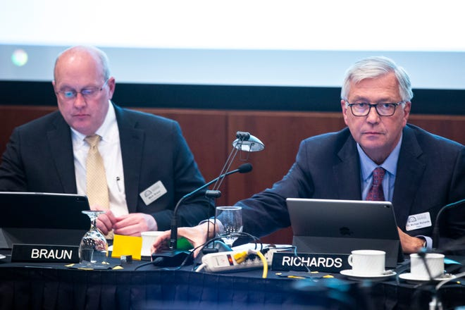 Regent President Michael Richards, right, and Executive Director Mark Braun are pictured during an Iowa Board of Regents meeting, Thursday, April 18, 2019, in the Levitt Center on the University of Iowa campus in Iowa City, Iowa.