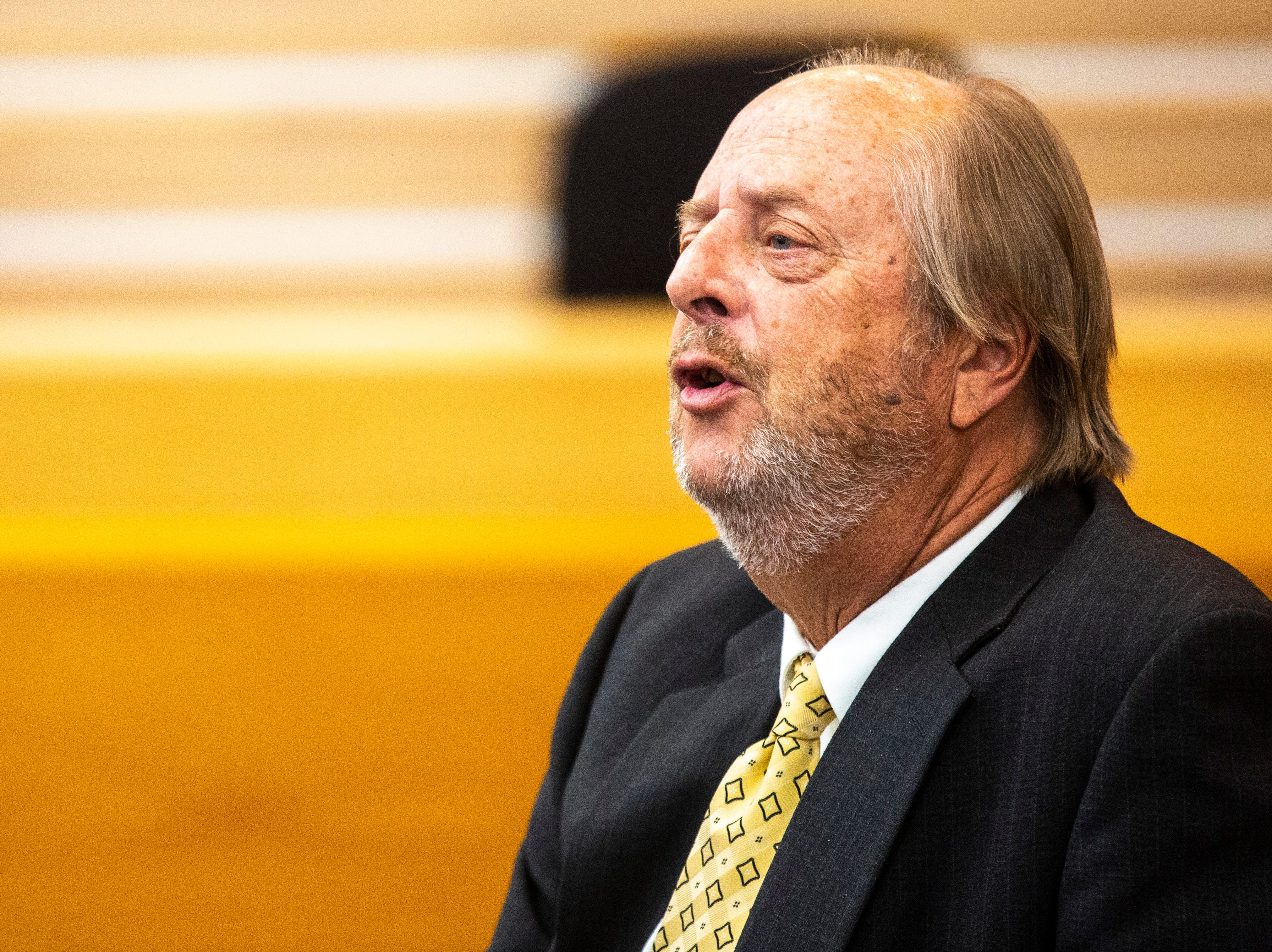 Former Iowa Supreme Court Justice David L. Baker, speaks during a panel regarding the Varnum v. Brien Iowa Supreme Court decision, Thursday, April 18, 2019, in the Boyd Law Building on the University of Iowa campus in Iowa City, Iowa.