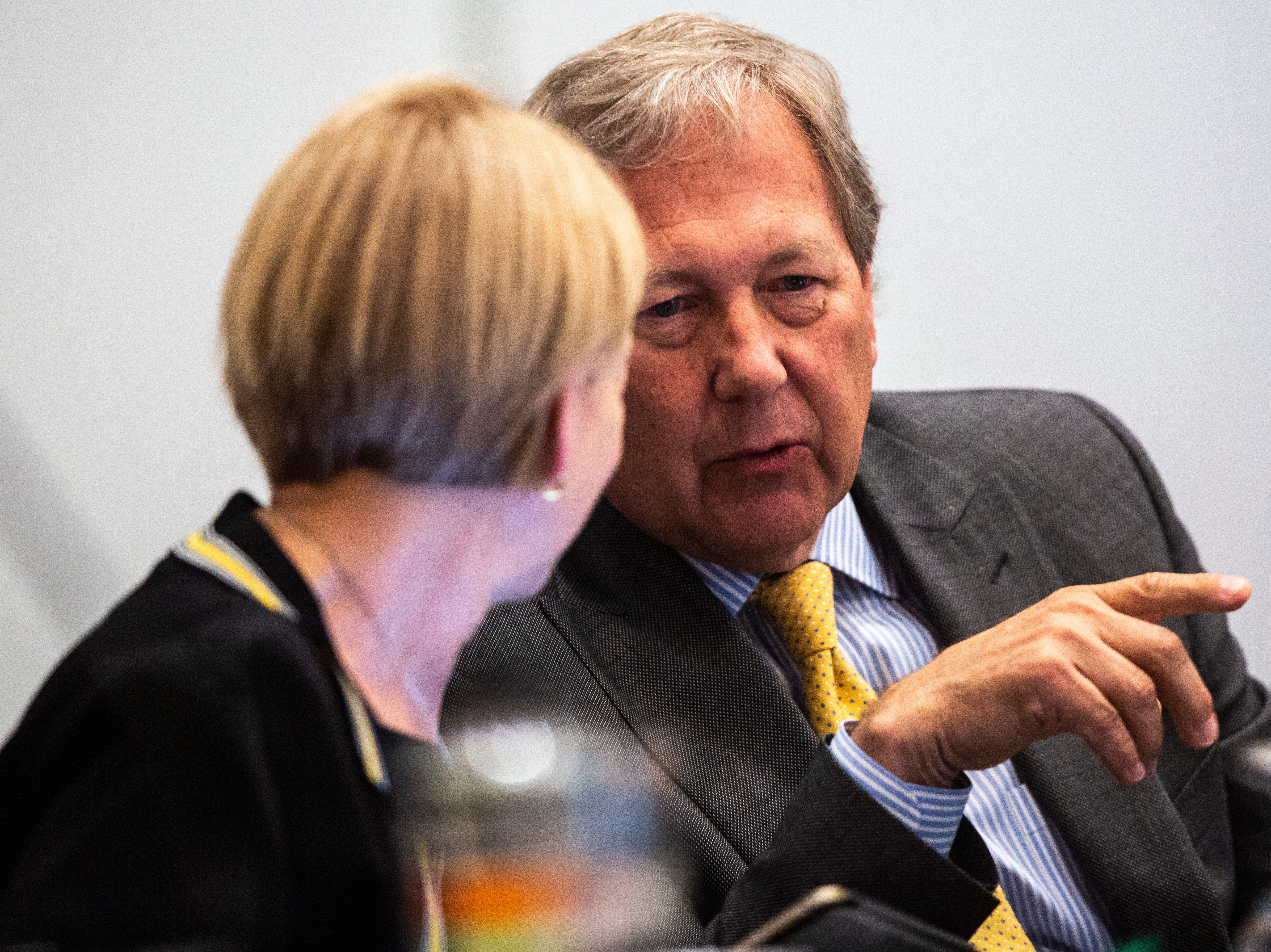 University of Iowa President J. Bruce Harrled, right, speaks with Interim Provost Sue Curry during an Iowa Board of Regents meeting, Thursday, April 18, 2019, in the Levitt Center on the University of Iowa campus in Iowa City, Iowa.