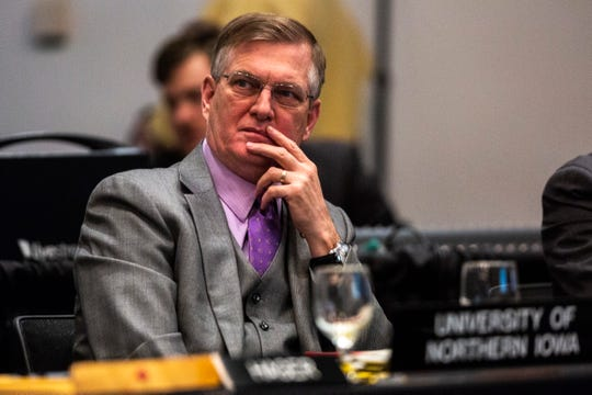 University of Northern Iowa President Mark Nook listens during an Iowa Board of Regents meeting, Thursday, April 18, 2019, in the Levitt Center on the University of Iowa campus in Iowa City, Iowa.