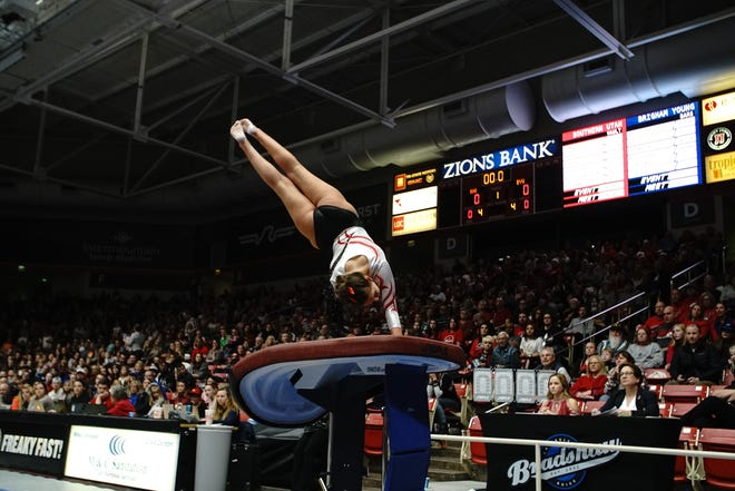 Rachel Smith, a Hernando, Mississippi native, competes on vault for Southern Utah University.