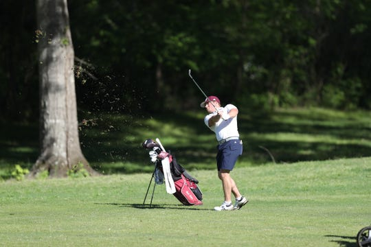 Mississippi State junior Garrett Johnson fires away from a fairway during the 2019 Old Waverly Collegiate Championship. Johnson was the only player in the field to shoot a score in the 60's during all three rounds.