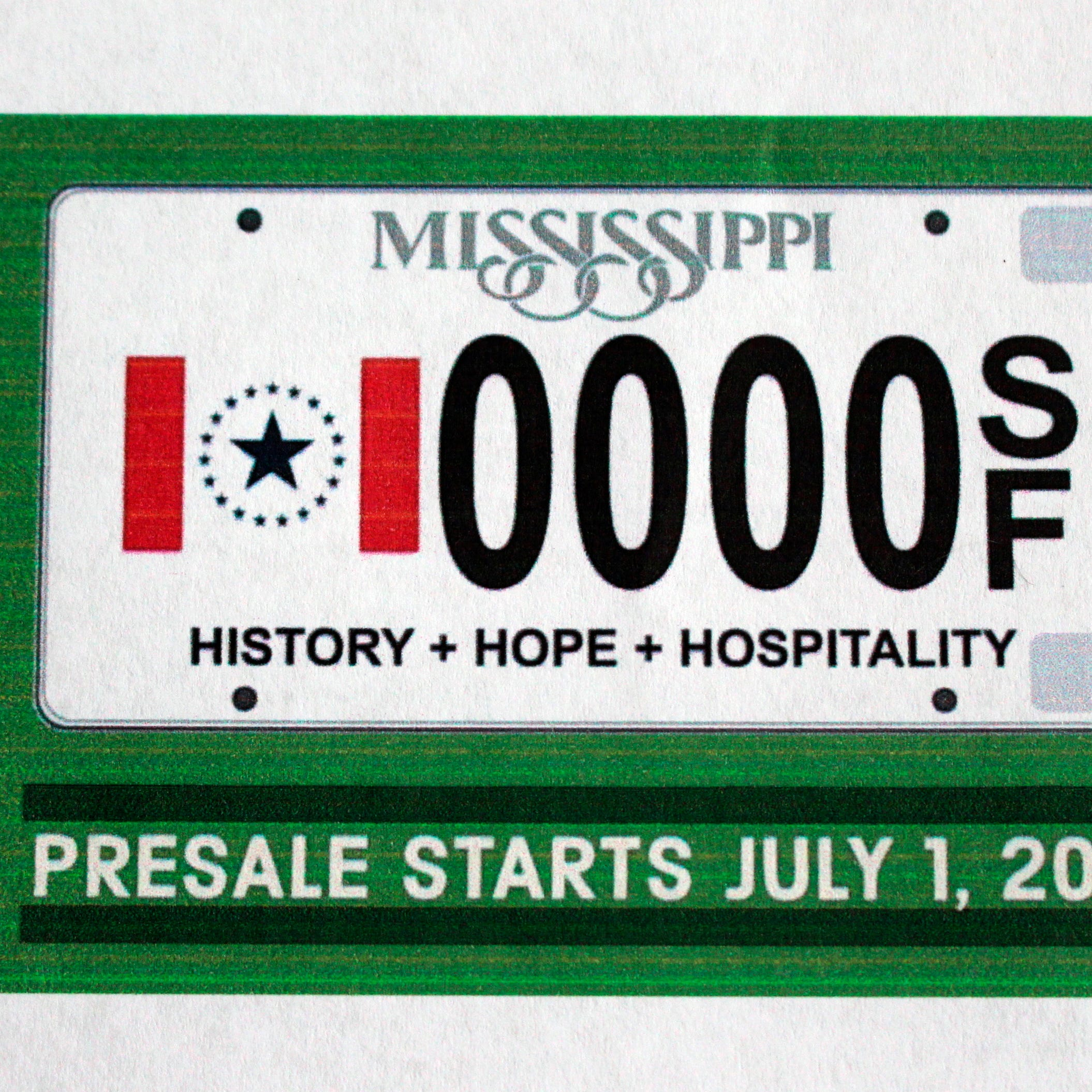 Mississippi flag minus Confederate emblem to be available on license plates