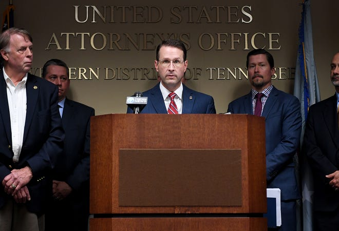 United States Attorney for the Western District of Tennessee D. Michael Dunavant speaks at a press conference in April.