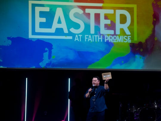 Josh Webb, student pastor at Faith Promise Church's North Campus, welcomes guests to the church on Wednesday, April 17, 2019.
