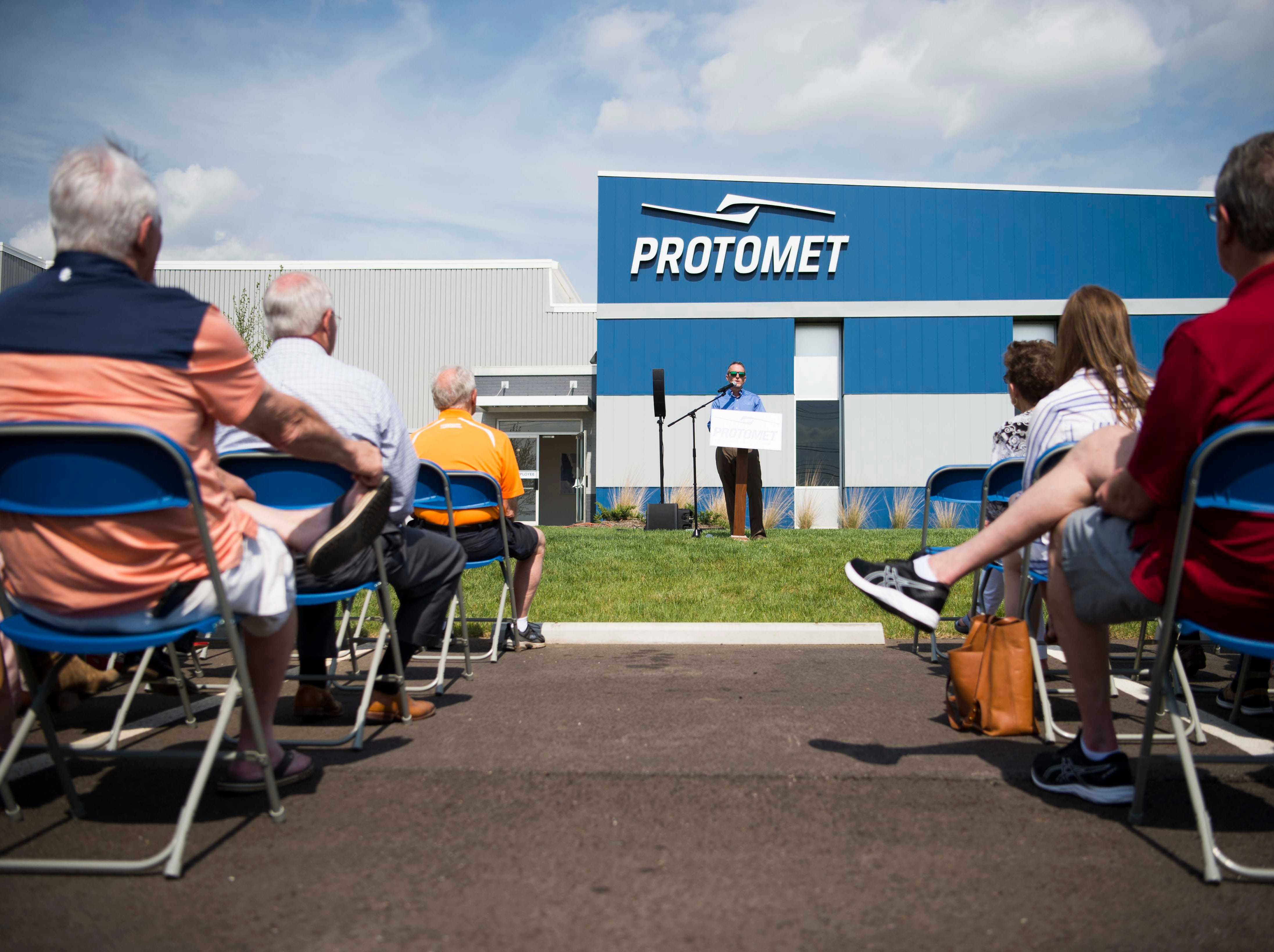 Jeff Bohanan, founder and CEO of Protomet makes remarks at the opening of Protomet Corporation's $30 million, 244,000 square foot plant in Loudon County Thursday, April 18, 2019. When fully staffed the facility will create 200 new jobs for Loudon County.