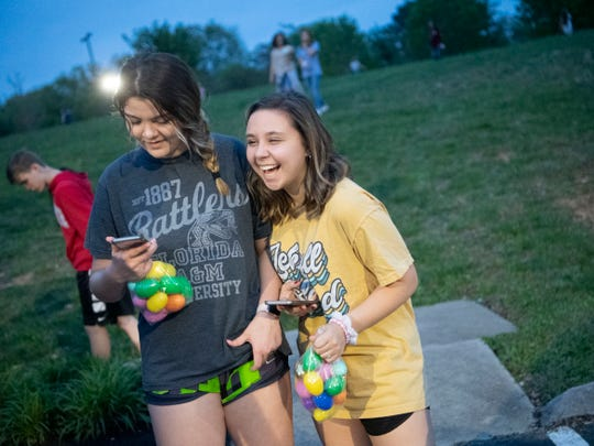Faith Promise Church's North Campus holds a Battle Royale-themed Easter egg hunt where teens searched for eggs while trying to avoid being hit by foam darts on Wednesday, April 17, 2019.