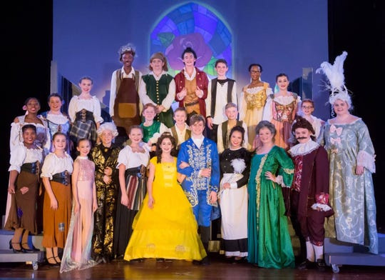 """A cast photo from HMS' most recent musical, """"Beauty and the Beast Jr."""" April 6, 2019."""