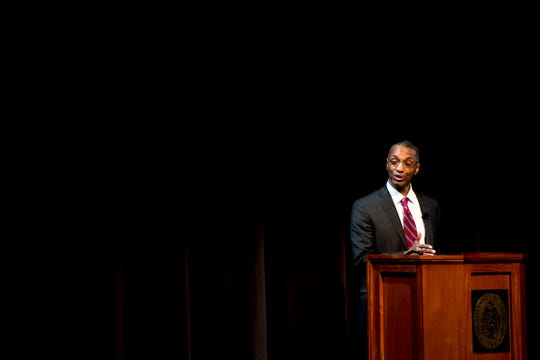 University of Tennessee chancellor candidate William Tate of Washington University speaks at an open forum at the UT Student Union in Knoxville, Tennessee on Thursday, April 18, 2019.