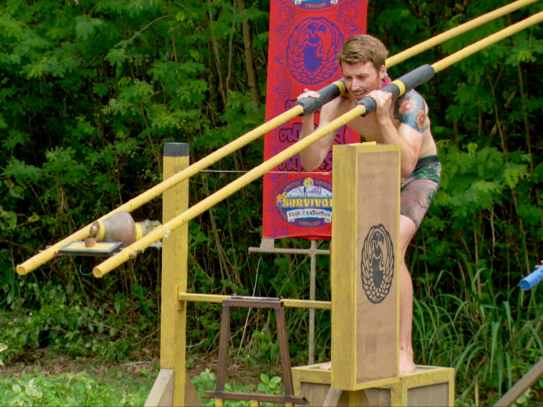 "Gavin Whitson competes in an immunity challenge on ""Survivor: Edge of Extinction."""