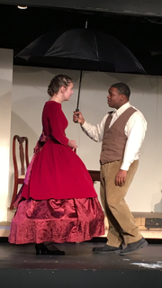 Brycen Ritchie in the role of Jo March and Derrick Washington Jr. as Professor Bhaer. April 16, 2019.