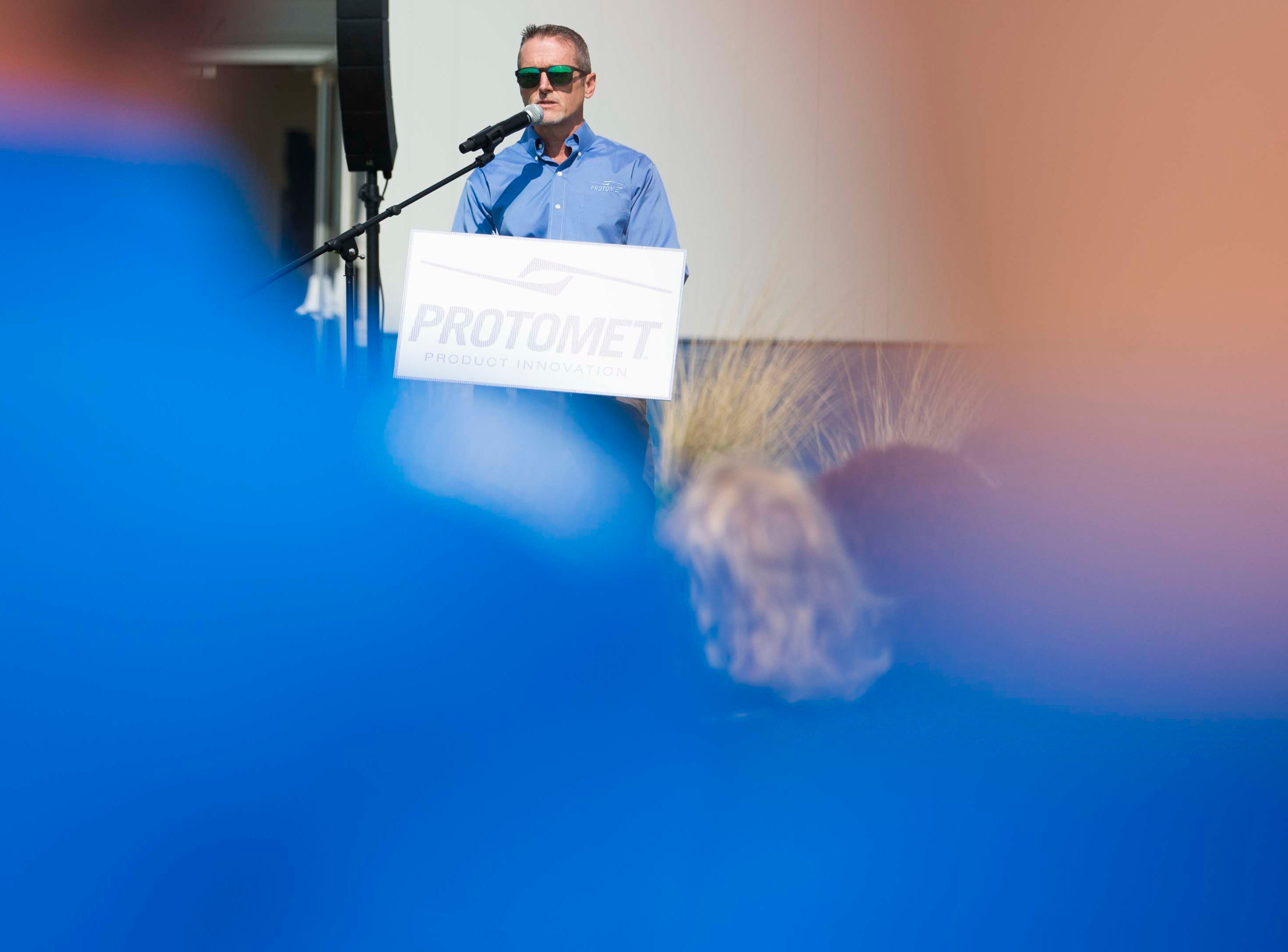 Jeff Bohanan, founder and CEO of Protomet, speaks at the opening of Protomet's $30 million plant in Loudon County on Thursday, April 18, 2019.