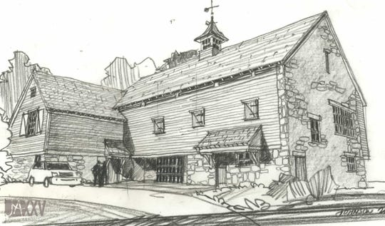 Daryl Johnson's hand-drawn sketch for the Wellhouse at Blackberry Farm.