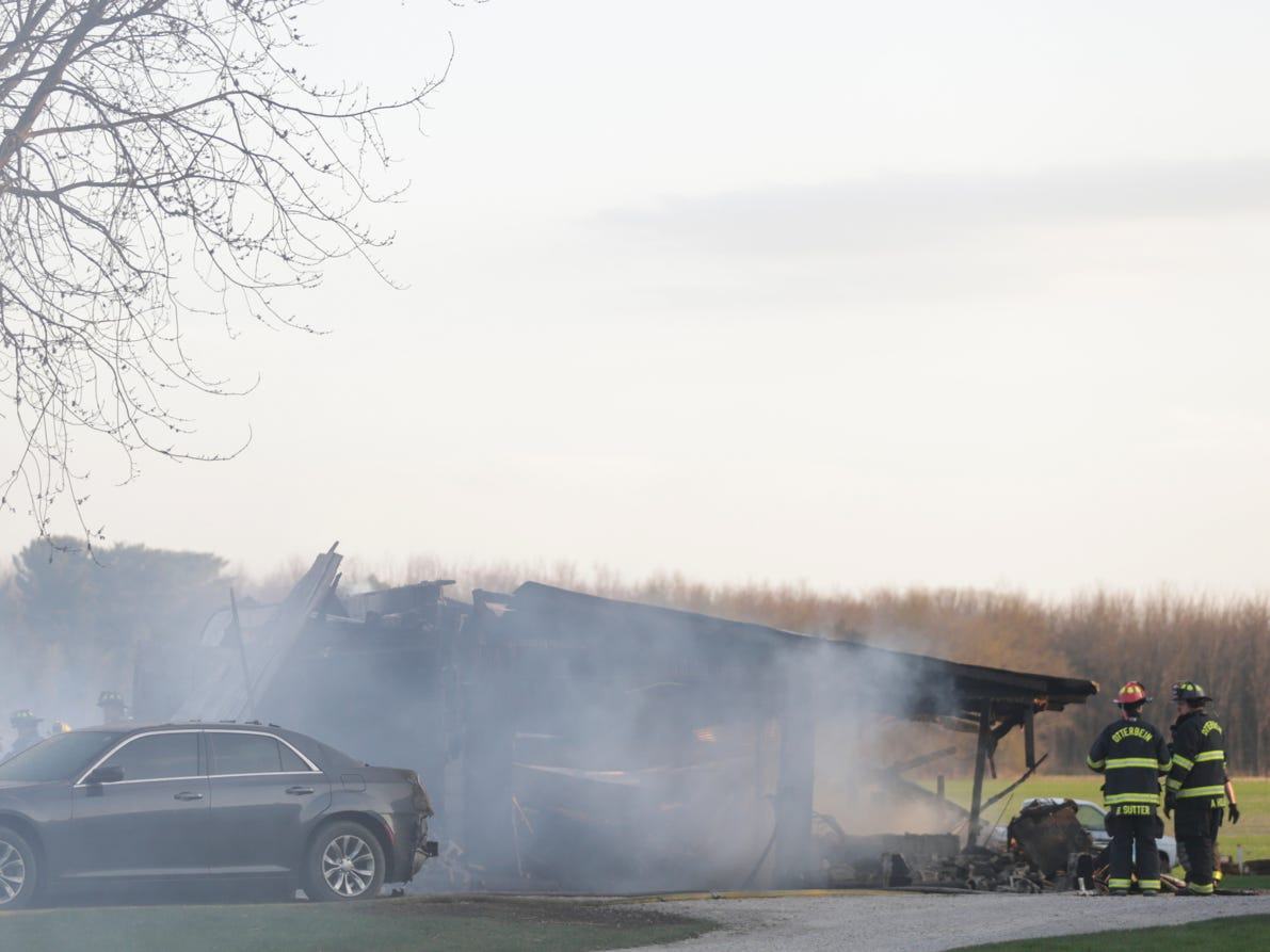 Fire fighters work the scene of a structure fire on the 5300 block of Jackson Highway, Wednesday, April 17, 2019 in Wabash Township.