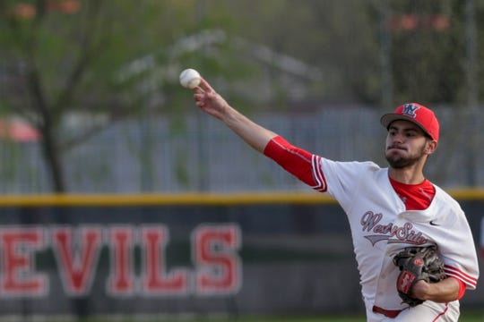 West Lafayette pitcher Tyler Wiseman (5) throws during the sixth inning of a high school baseball game, Wednesday, April 17, 2019 in West Lafayette. West Lafayette won, 3-1.