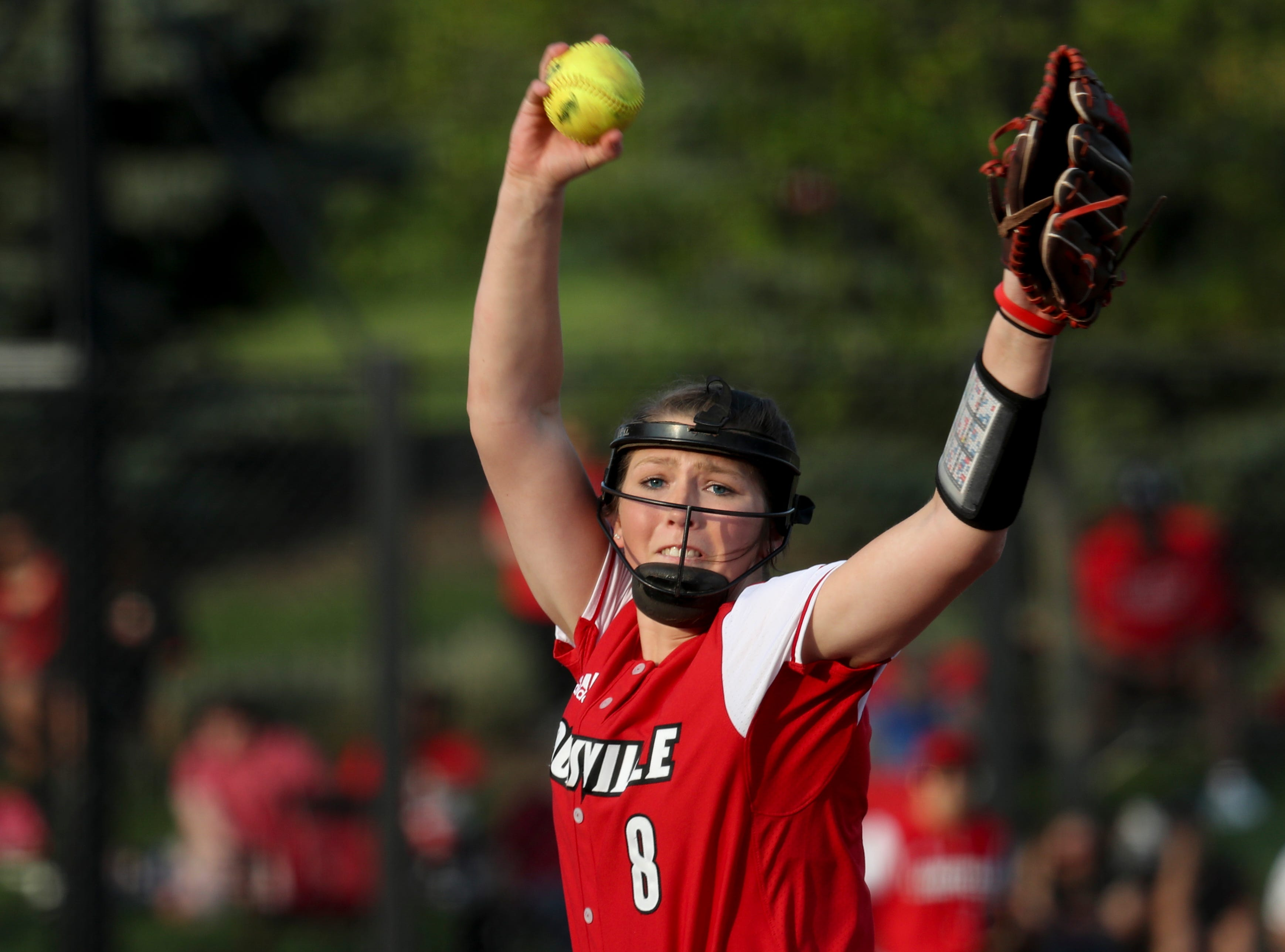 Louisville's Taylor Roby delivers the ball home against Kentucky on April 17.