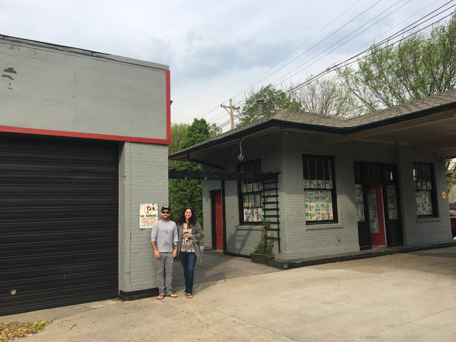 Natasha Sud and Gerald Dickerson pose outside of an old filling station at 950 Barret Avenue. This June they're planning to reopen the space as a bar and boutique mashup.