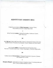 A Kentucky Derby 2011 dinner menu from 610 Magnolia, 610 W. Magnolia Ave.