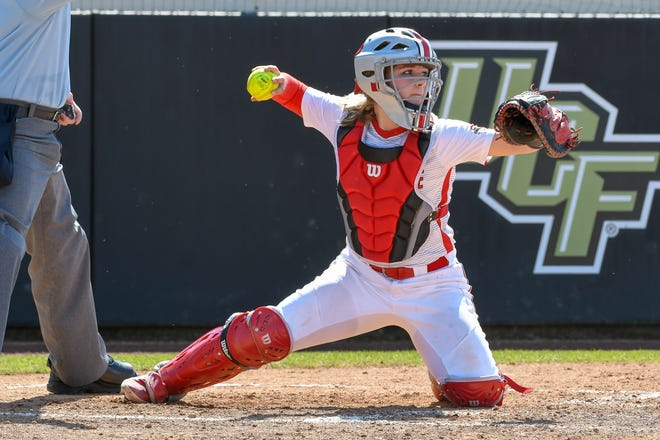 Ohio State catcher Claire Nicholson throws the ball during a game last season. She is a junior and continued to be a starter behind the plate for the Buckeyes until the season was canceled due to the coronavirus pandemic.
