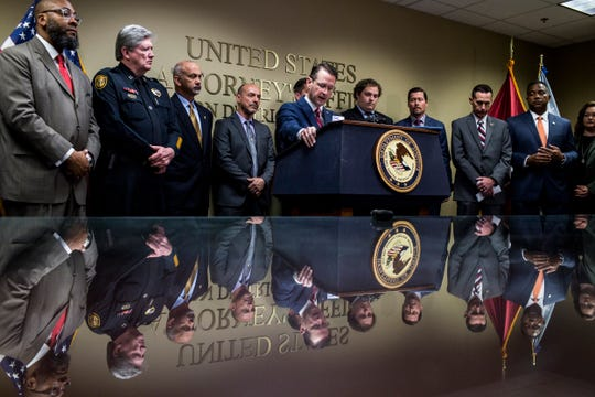 U.S. Attorney D. Michael Dunavant speaks during a news conference April 18, 2019, about the indictment of 15 West Tennessee residents accused of illegally distributing prescription opioids.